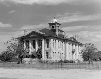 1916 Blanco County Courthouse, Johnson City, Texas old photo