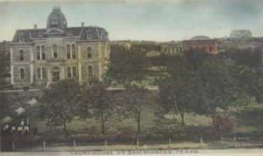 The 1882 Hays County Courthouse by architect Ruffini , San Marcos, Texas postcard