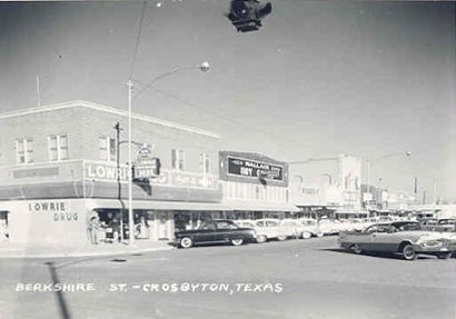Crosbyton, Texas - Berkshire Street showing  Lamar Building. Lowrie Drugs