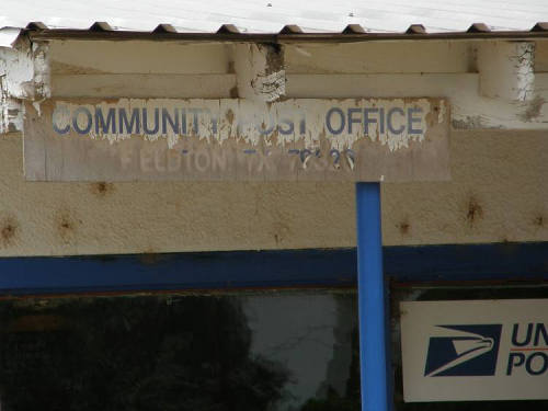 Fieldton Tx - Post Office sign