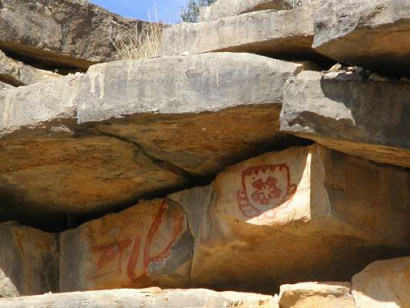 Indian Pictographs in Paint Rock, Texas