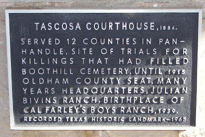 Tascosa TX  - 1884 Oldham County Courthouse Historical Marker