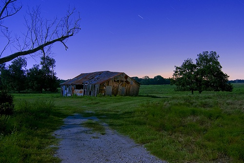 Climax Texas barn at night