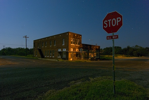 Ghost Town Eliasville TX at night