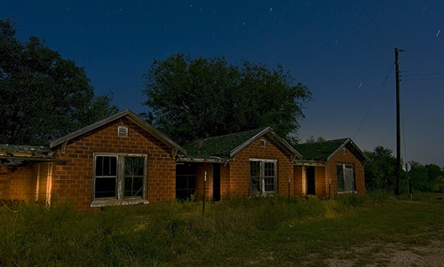 South Bend Texas ghost town motel  at night