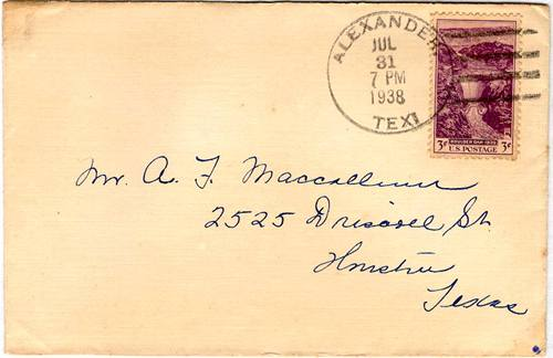 Alexander TX cover with  1938 Postmark