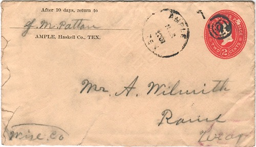 Ample TX - Haskell County  1901 Postmark