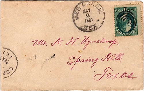 Ash Creek, TX 1881 postmark