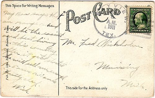 Bayview TX Galveston County 1911 Postmark