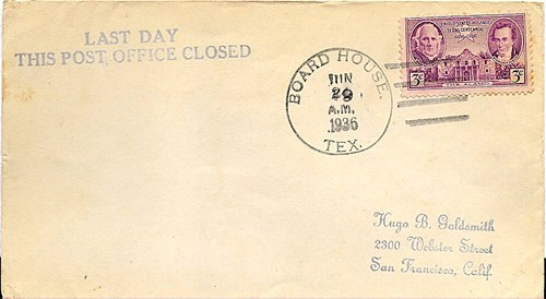 Board House, Blanco County,  TX 1936 Last Day Postmark