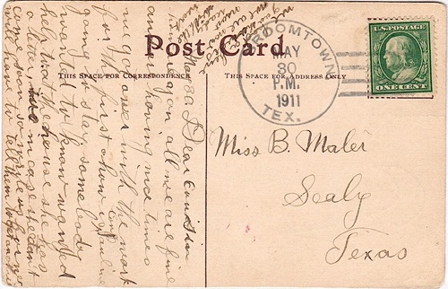 Broomtown TX, Austin County postcard with 1911 Postmark