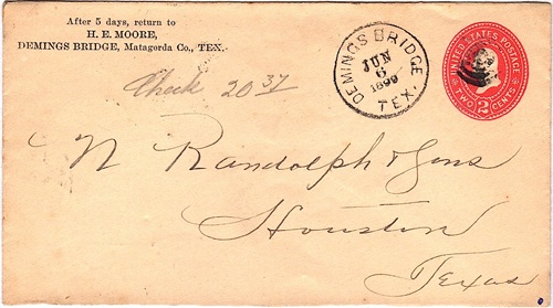 Deming's Bridge TX 1899 postmark