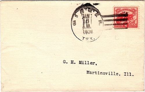 Ginger TX cover with cancelled postmark