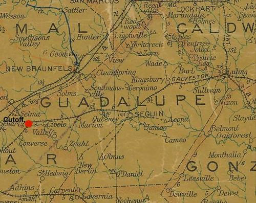 Guadalupe County TX vintage map