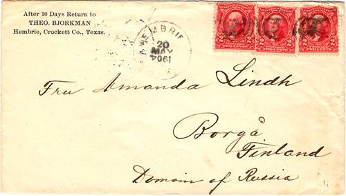 Texas - Hembrie TX Crockett Co 1904 Postmark