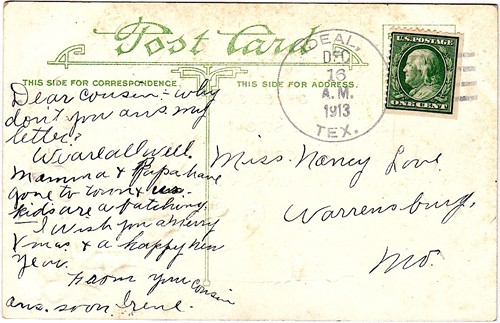 Ideal, Texas, Sherman County 1913 postmark