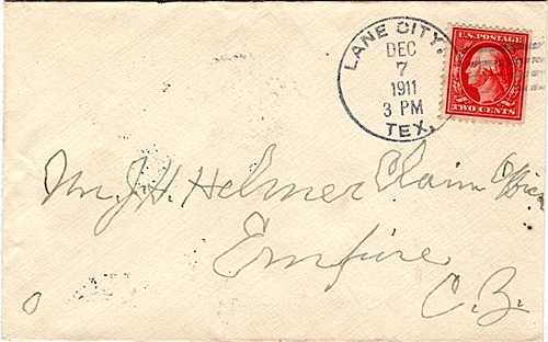 Lane City TX - Wharton County 1911 Postmark