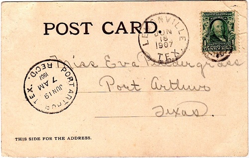 Orange County  Lemonville TX  1907 Postmark