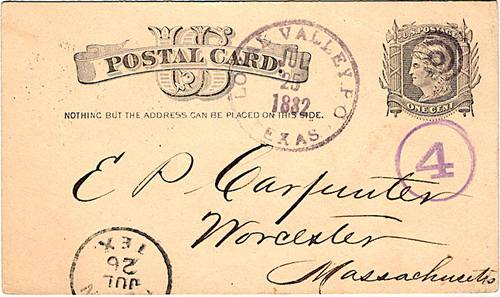 Loyal Valley TX Mason Co 1882 Postmark