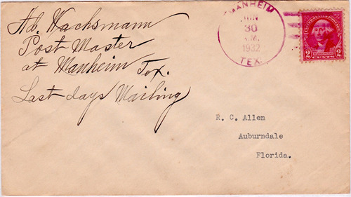 Manheim, TX,  Lee County 1932 Postmark