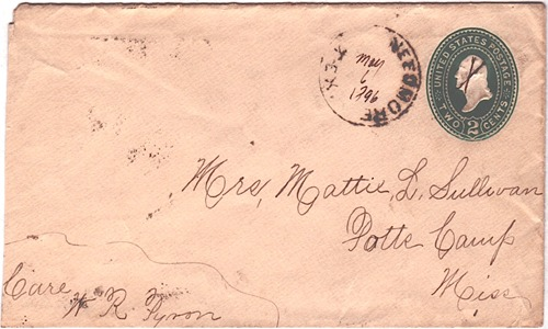 Needmore, TX, Delta County, 1896 postmark