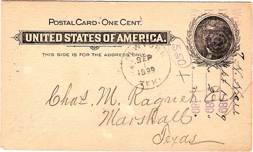 Postcard cancelled with 1899 New York postmark