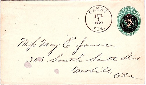 Pansy TX  cancelled 1893 Postmark