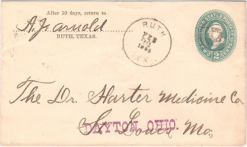 Ruth TX Coryell Co 1896 Postmark