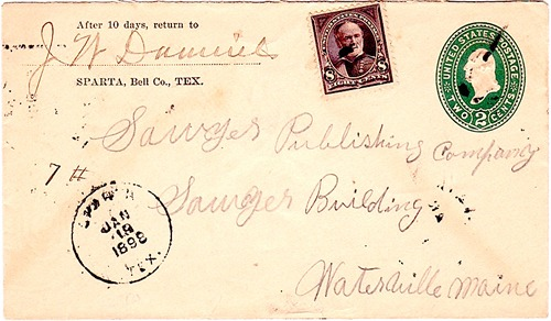 Sparta TX - Bell County 1898 Postmark