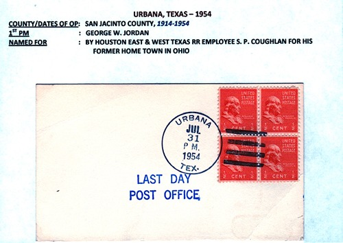Urbana, TX 1954 last day post office postmark