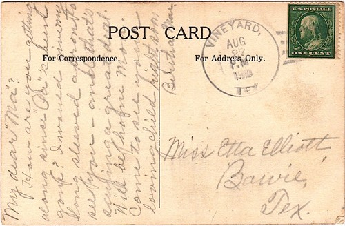 Vineyard TX Jack County 1910 Postmark
