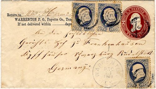 Warrenton TX Fayette Co 1886 postmark