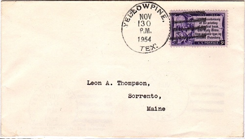 Yellowpine Texas 1954 postmark