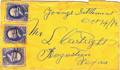 Young's Settlement, TX Bastrop County 1872 Postmark