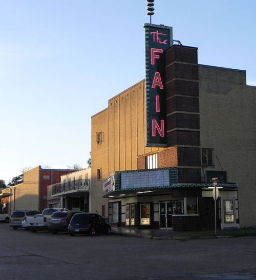 Livingston Tx - Fain Theatre with neon sign