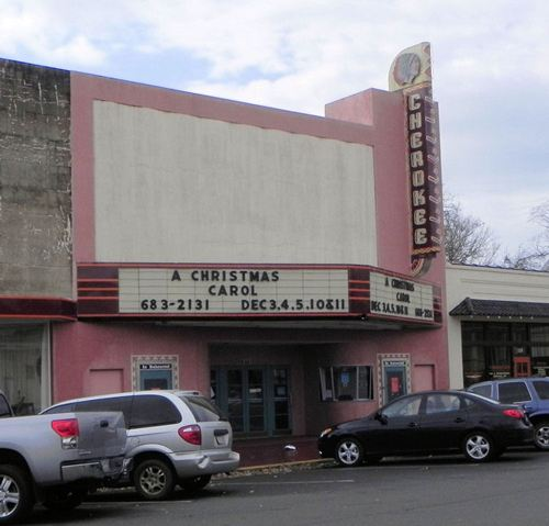Rusk TX - Cherokee Theatre with neon sign
