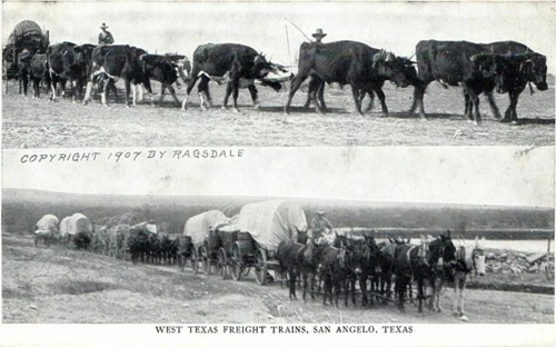 San Angelo TX - West Texas Freight Trains. 1907