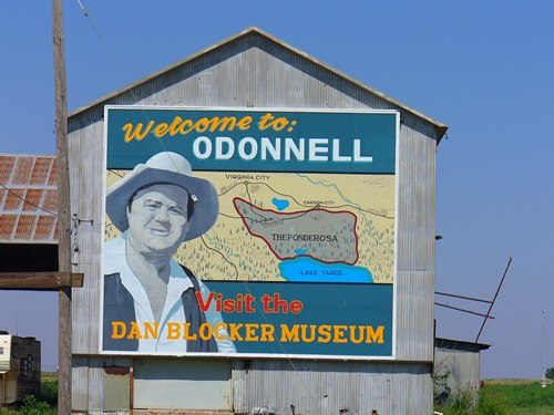 O'Donnell Texas Dan Blocker Museum Sign